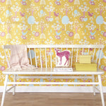 Cherry Valley Wallpaper in Yellow by Majvillan