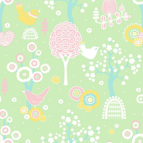 SALE ITEM Majvillan Wallpaper | Apple Garden in Turquoise