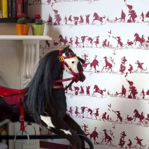 Catherine Martin Kids Wallpaper- Circus Parade in Ruby 115