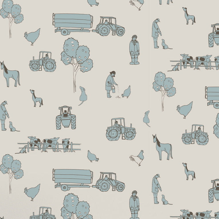 Katie Bourne Cluck a doodle farm - Cream & Blue Kids Wallpaper