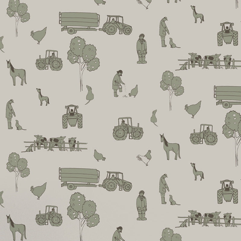 Katie Bourne Wallpaper, cluck a doodle farm from Just Kids Wallpaper