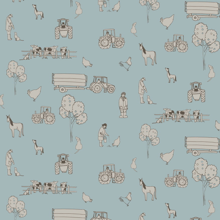 Katie Bourne Cluck a doodle farm - Light Blue Kids Wallpaper from Just Kids Wallpaper