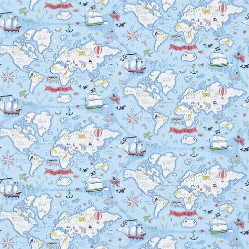 Little Sanderson | Treasure Map Wallpaper in Sea Blue