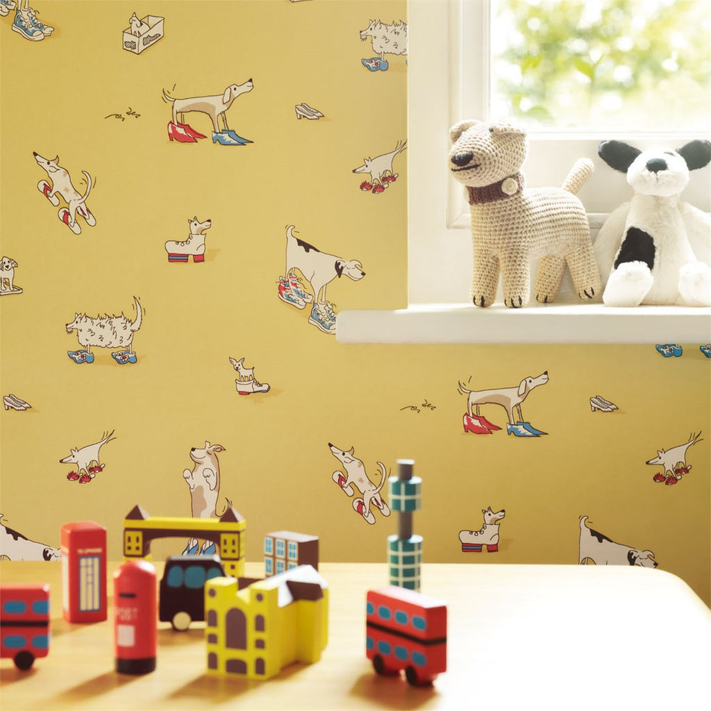 Dogs in Clogs Kids Wallpaper 214012 in Yellow | Little Sanderson Room Shot
