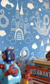"Majvillan Kids Wallpaper ""Dragon Sky in Brilliant Blue 103-01"