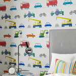 Boys room with Car Wallpaper - Just Keep Trucking