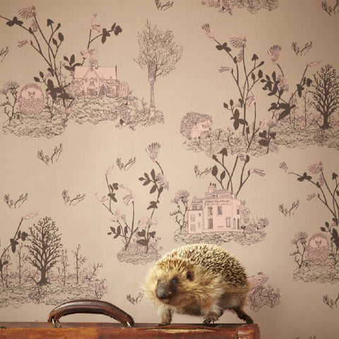 Sian Zeng Woodlands Wallpaper in Brown & Pink