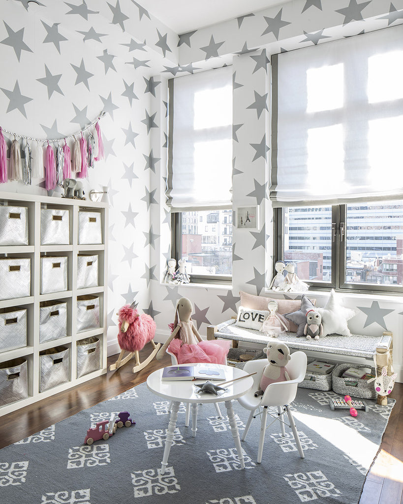 Sissy & Marley Walpaper Stars in silver metallic. Available in Australia