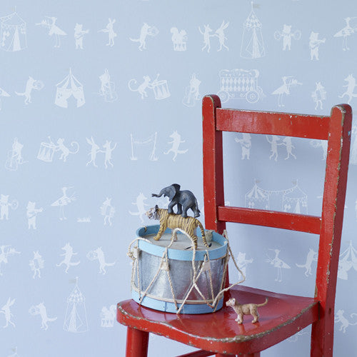 Hibou Home Childrens Wallpaper Animal Parade in Pale Blue