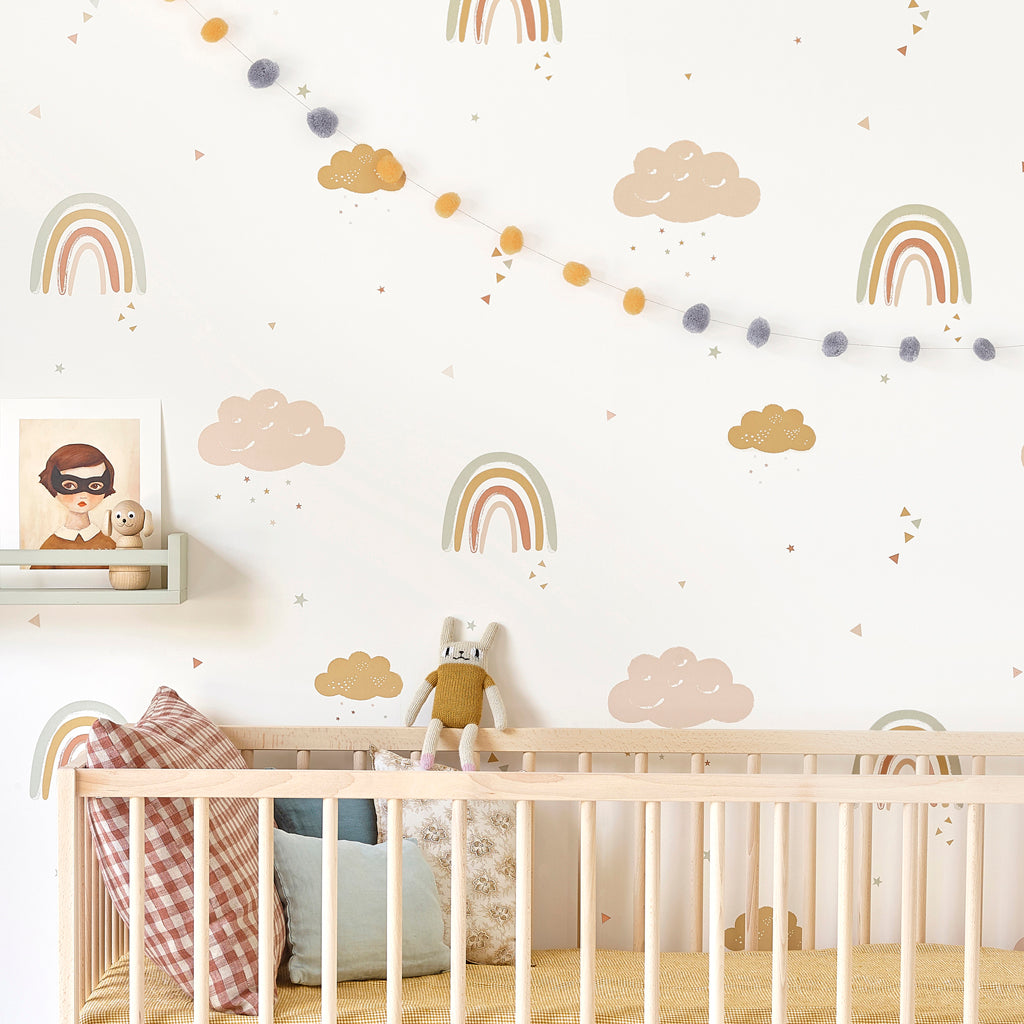 Hibou Home Wallpaper Rainbows In Mustard Rose