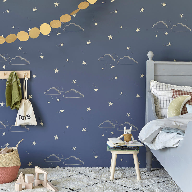 Starry Sky Wallpaper in Indigo & Gold