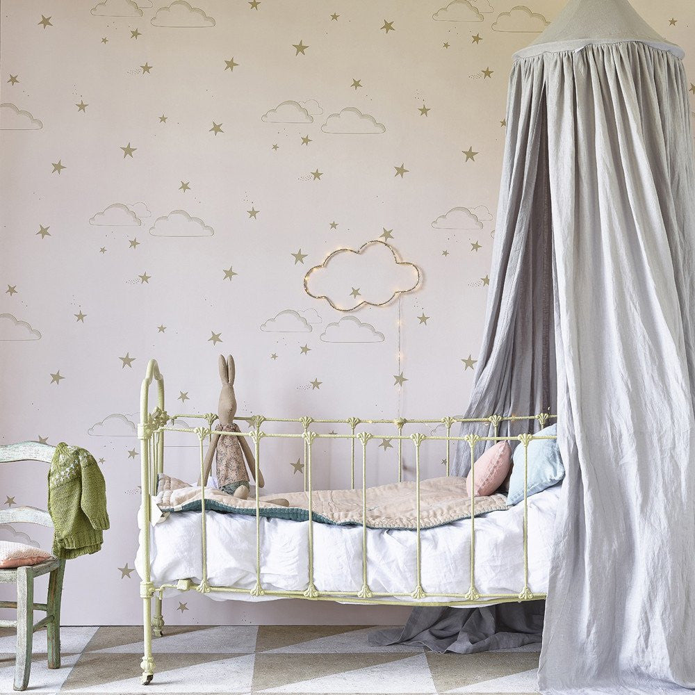 Hibou Home Wallpaper | Starry Sky Wallpaper in Pale Rose & Gold