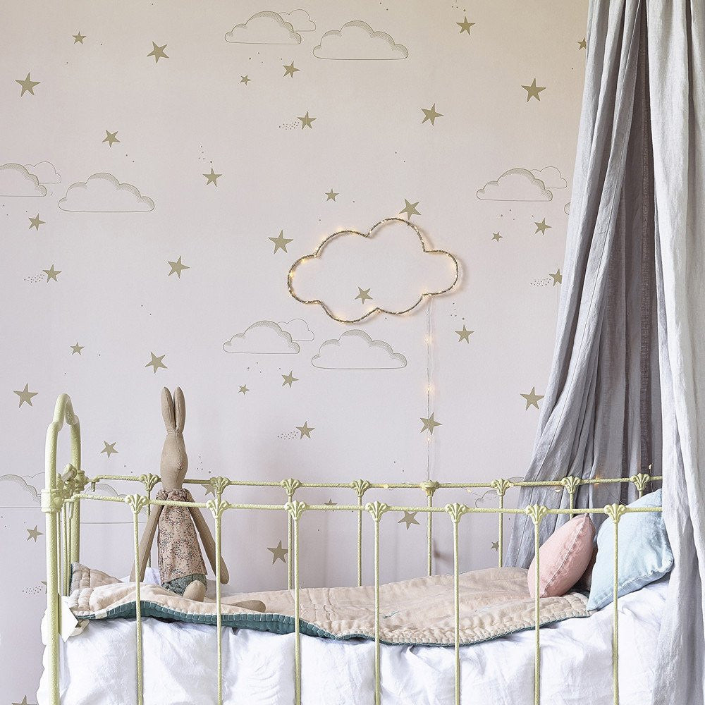 Starry Sky Wallpaper | Hibou Home | Pale Rose & Gold