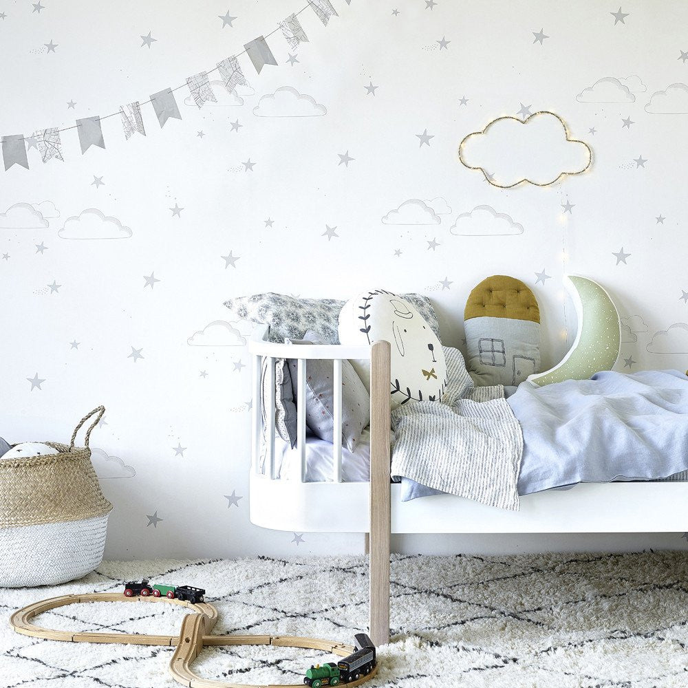 Hibou Home Starry Sky Wallpaper in Silver & White