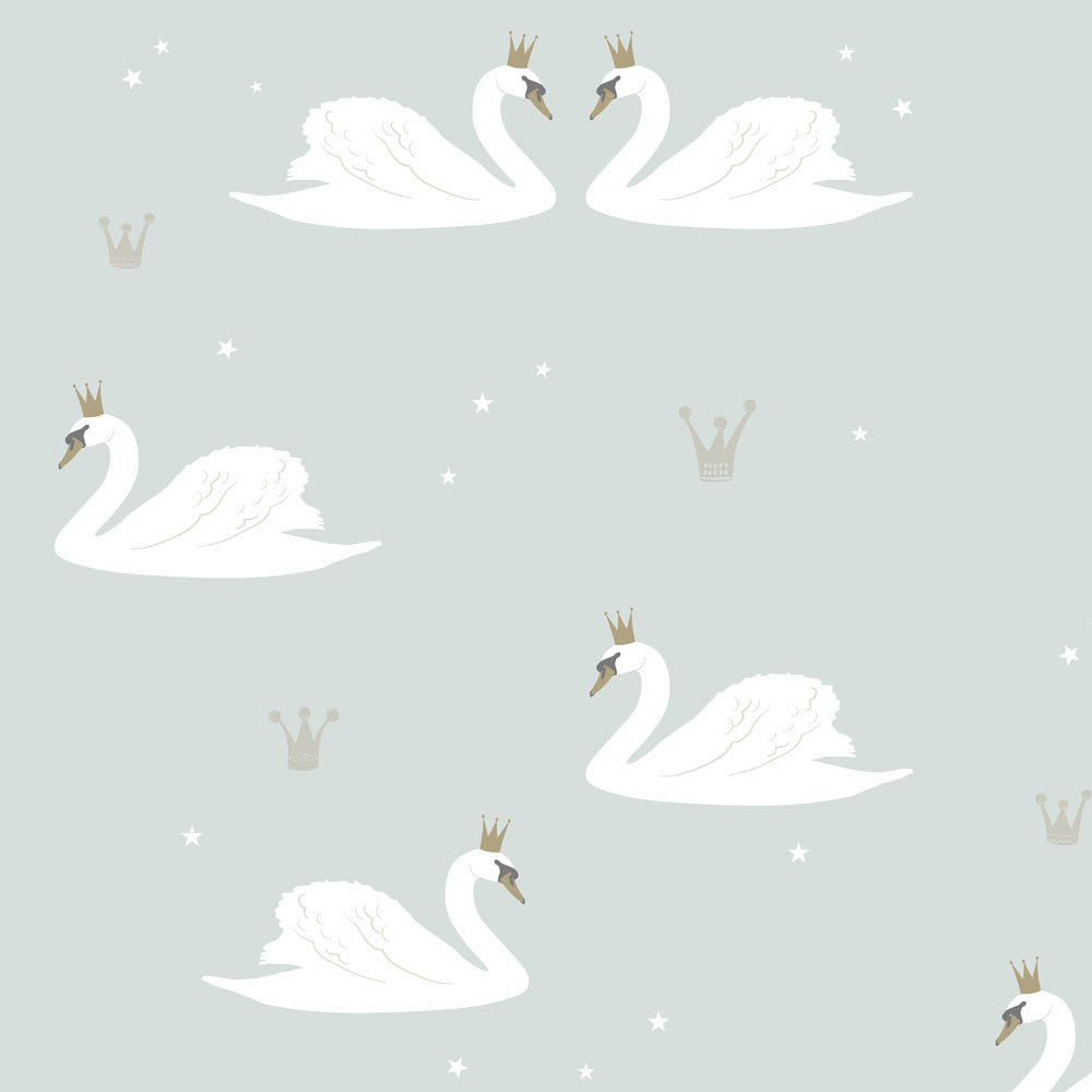 Swans Wallpaper by Hibou Home in Mint Green