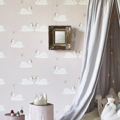 Hibou Home Swans Wallpaper in Pale Pink | Girls Wallpaper