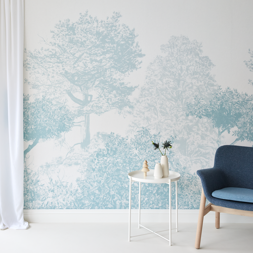 Hua Tree Wallpaper Mural in Blue
