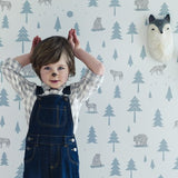 Hibou Home Childrens Wallpaper Into the Wild. in Grey/Storm. Kids Wallpaper