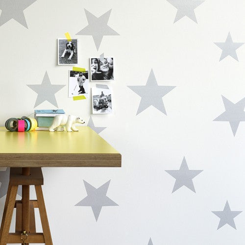 Silver & White Stars Wallpaper | Hibou Home
