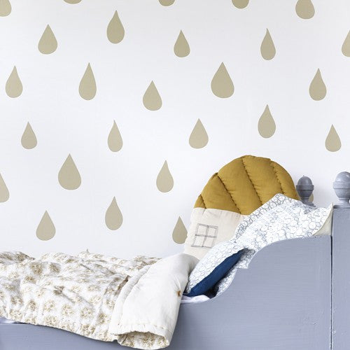 Hibou Home Wallpaper | Raindrops in Gold & White