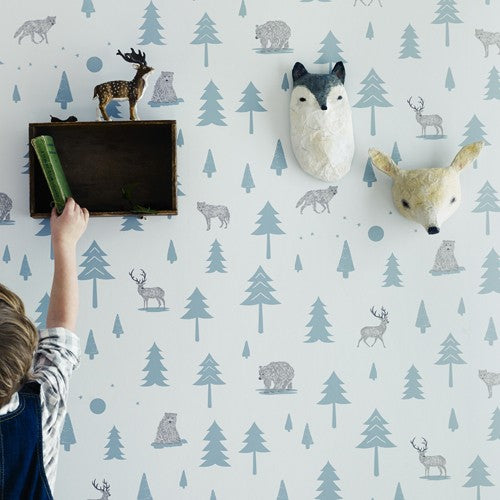Hibou Home Kids Wallpaper. Into The Wild in grey. Kids Wallpaper.