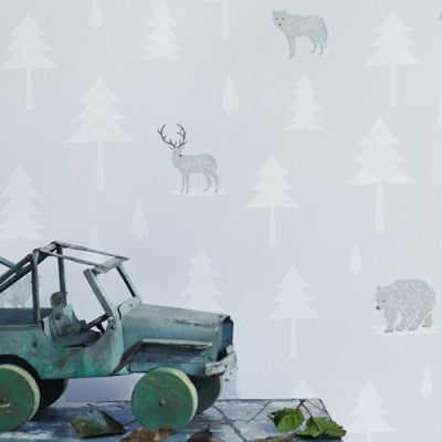 Hibou Home Kids Wallpaper. Into the Wild in Arctic White