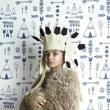Hibou Home Teepee Indigo on White Wallpaper