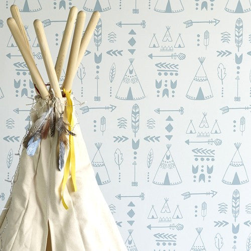 Hibou Home Teepee Wallpaper. Storm Green/Grey