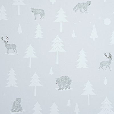 Hibou Home Wallpaper Into The Wild in Arctic White. Kids Wallpaper