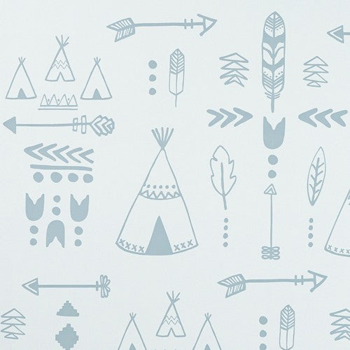 Hibou Home Teepee Wallpaper. Storm Green Grey.