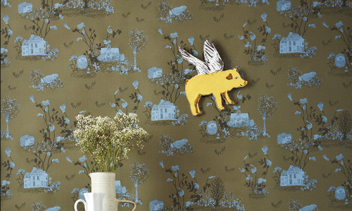Sian Zeng Wallpaper | Woodlands Khaki Blue