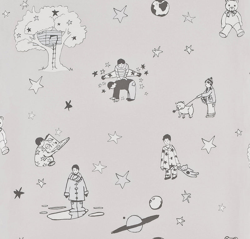 Once Upon A Star Wallpaper in light Grey & Blue by Katie Bourne Interiors 10m x 52cm.