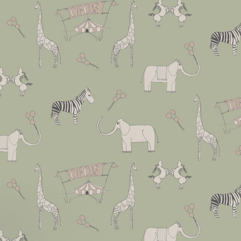 Katie Bourne Merry Go Circus Green & Pink kids wallpaper