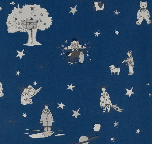 Nursery Wallpaper for Boys, Dark Navy Wallpaper. Once Upon A Star by Katie Bourne