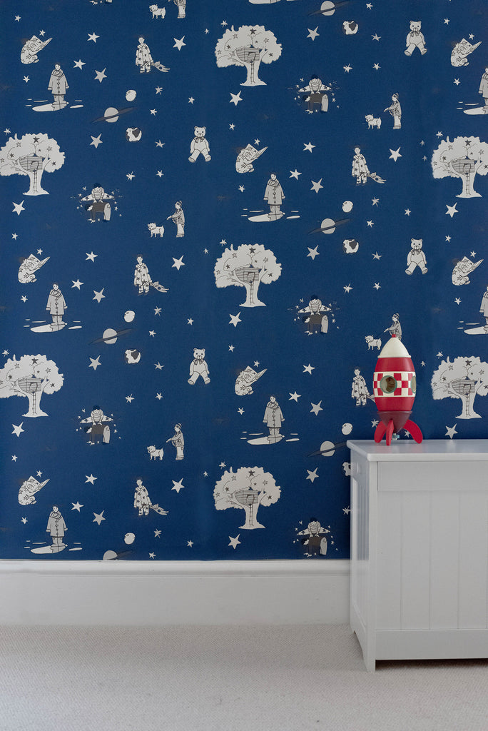 Dark Navy Wallpaper. Once Upon A Star Wallpaper by Katie Bourne Interiors