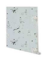 Katie Bourne Wallpaper. Once Upon A Star Wallpaper in Blue & Silver