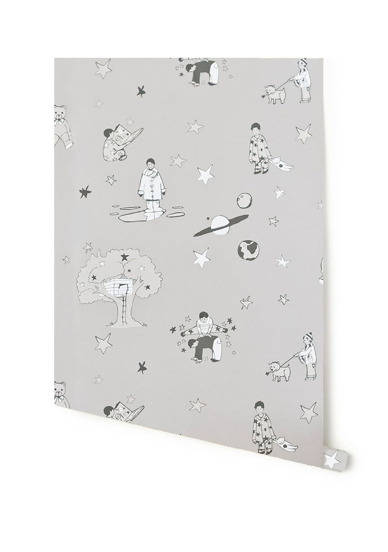 Once Upon A Star in Slate Grey by Katie Bourne 10m x 52cm.