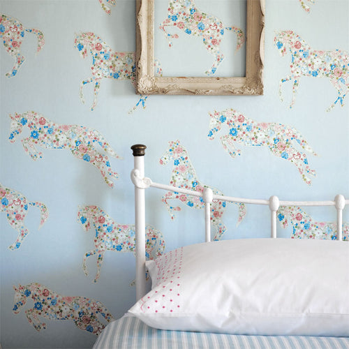 Little Sanderson Girls Bedroom. Pretty Ponies Wallpaper 214035
