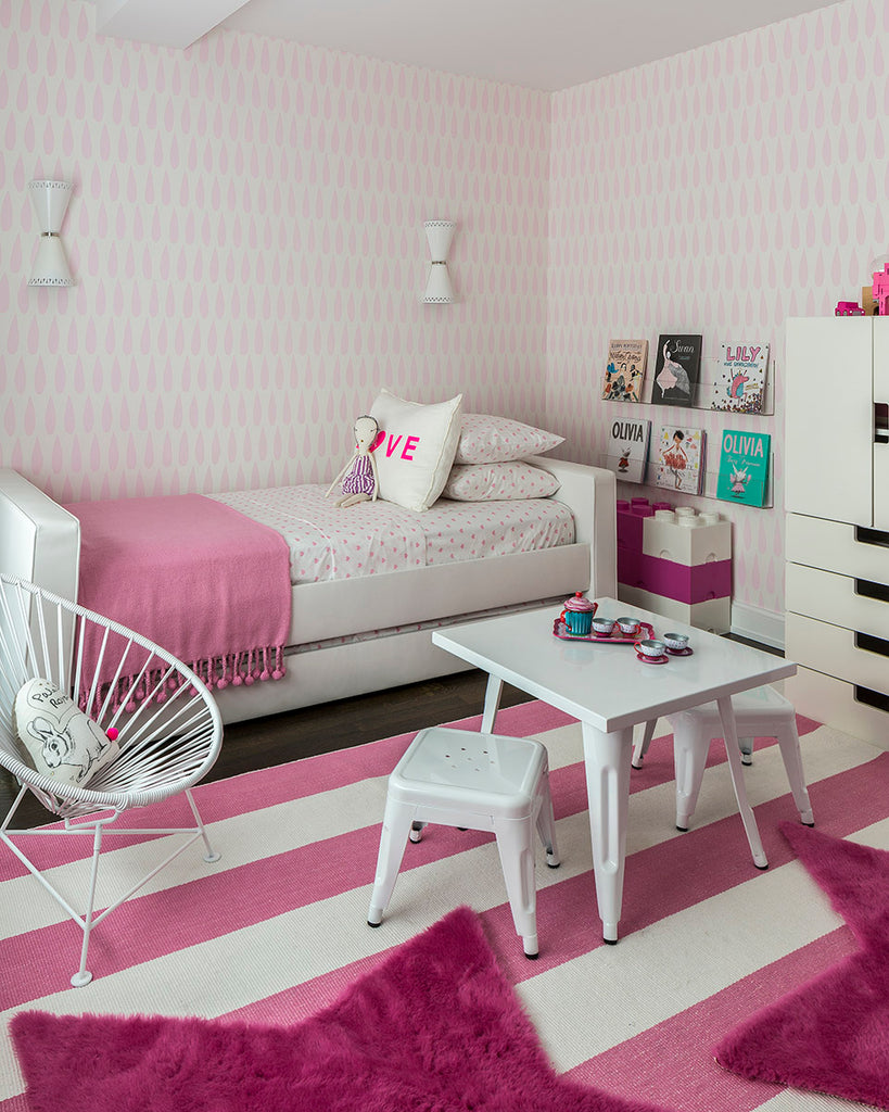 Girls Room with Pink Drops Wallpaper | Sissy & Marley