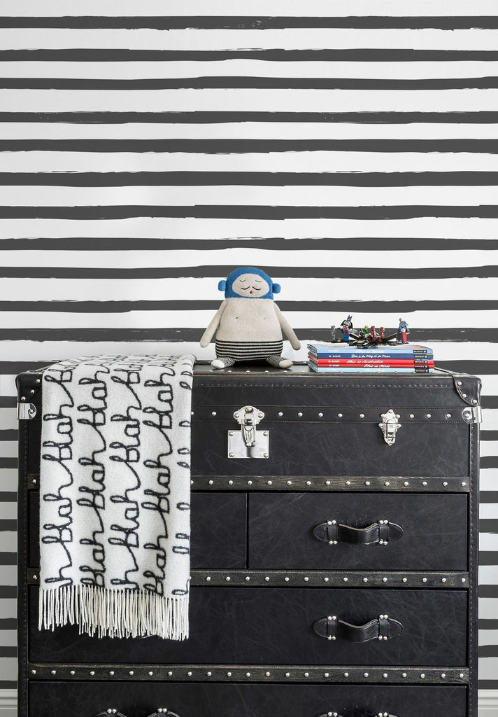 Sissy & Marley Wallpaper | Stripe in Charcoal