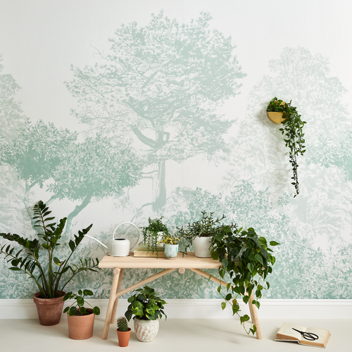 Hua Trees in Green Wallpaper Mural by Sian Zeng