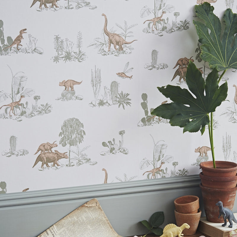Dino Wallpaper by Sian Zeng in Pink & Green