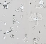 Slate Grey Nursery Wallpaper by Katie Bourne. Once Upon A Star - A Wallpaper for Boys.