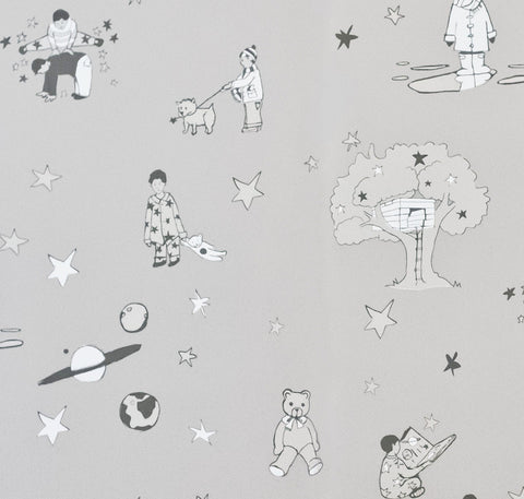 Katie Bourne Interiors Wallpaper | Once Upon A Star Blue & Silver