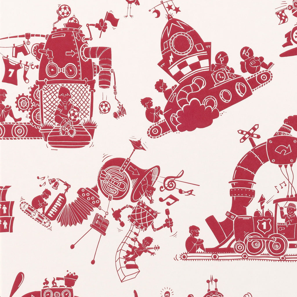 PaperBoy Wallpaper. When I Grow Up. Red & White. Just Kids Wallpaper