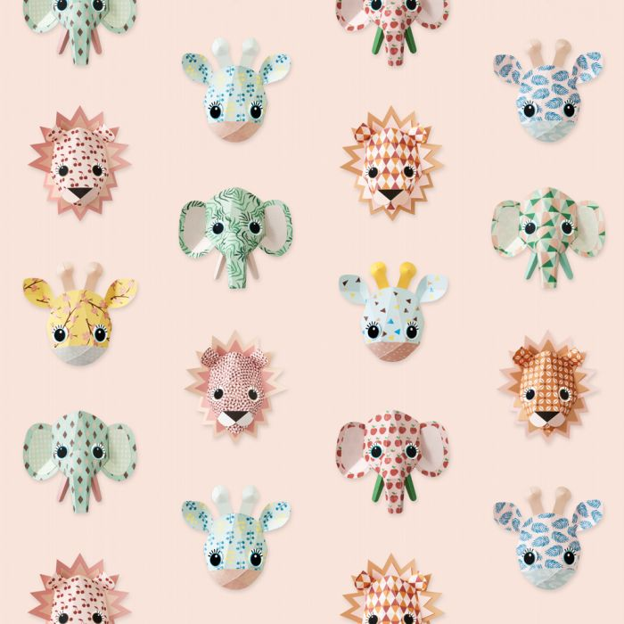 Wild Animals in Pink Wallpaper Studio Ditte
