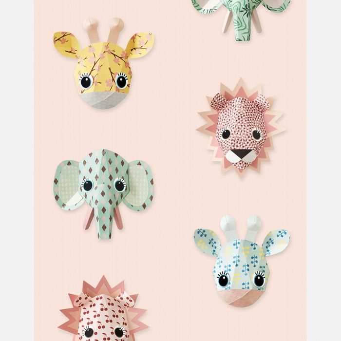 Studio Ditte Wallpaper Wild Animals in Pink