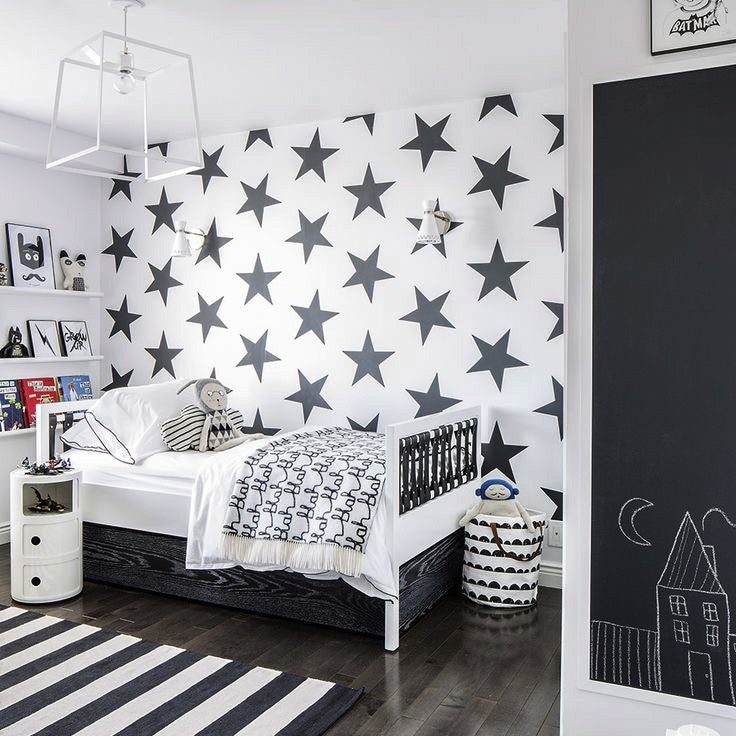 Marleymalek Kids Wallpaper Lucky Star Charcoal Australia Just