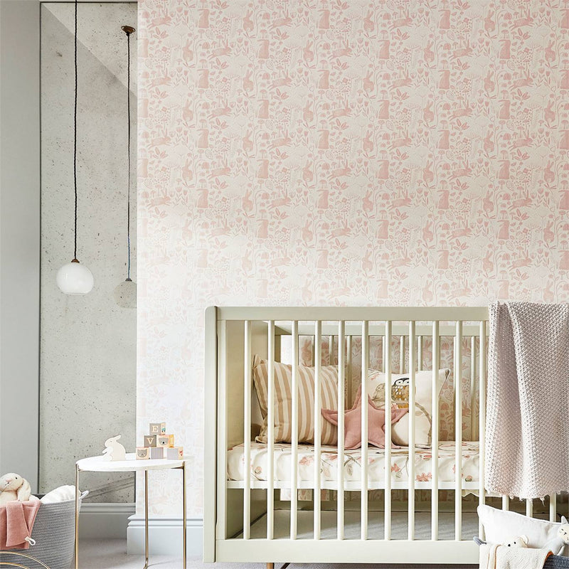 Nursery with Into The Meadow Wallpaper in Pink