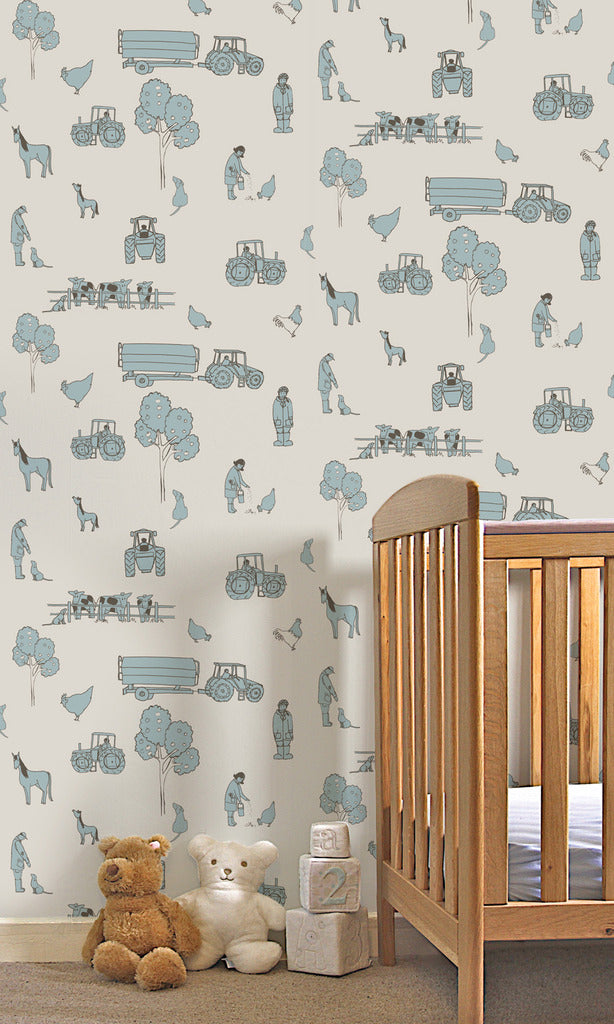 Katie Bourne Cluck a doodle farm - Cream & Blue Kids Wallpaper from Just Kids Wallpaper